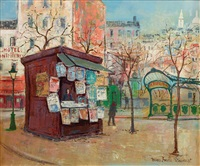 kiosque à journaux à montmartre by bruno emile laurent