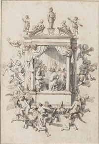 design for a musical emblem: a chamber orchestra performing within an architectural surround, accompanied by putti, apollo and the muses by jan de bray