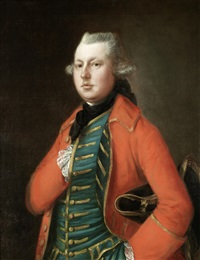 portrait of mr. coke of brookhill hall, half-length, in a red coat and a blue waistcoat with gold embroidery, a tricorn hat under his arm by thomas gainsborough