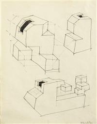 prepatory drawing for geometric pots by ken price