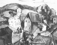 village with two figures by morris davidson