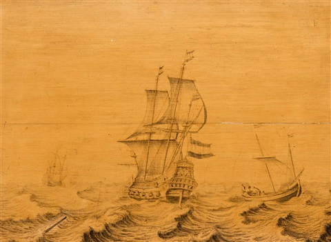 ships on a choppy sea by willem van de velde the elder