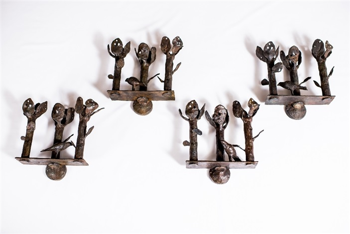 three branch wall sconces with birds by diego giacometti