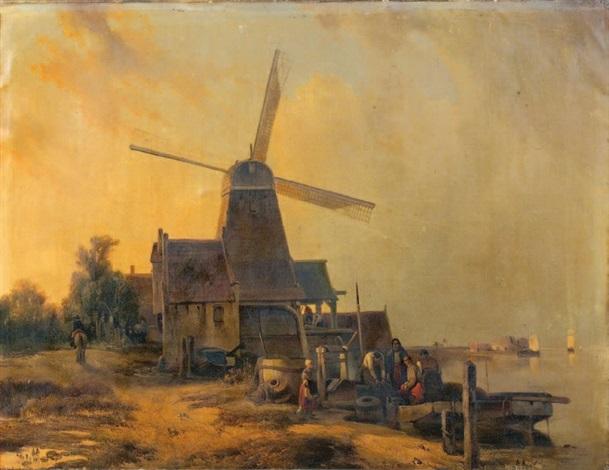 paysage au moulin by hubertus van hove