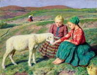children with lambs by oszkár glatz