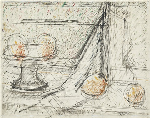 fruit bowl and window by godfrey clive miller