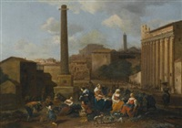 figures resting in a capriccio view of the roman forum by hendrick mommers