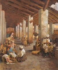 marchands dans le fondouk by dario mecatti