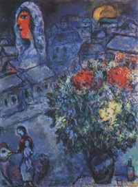 La mariée avec bouquet au village de Neuilly by Marc Chagall on artnet