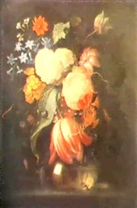 a still life of spring flowers... by pieter gallis