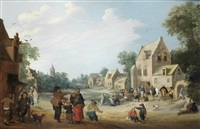 a village with figures gathered outside an inn by joost cornelisz droochsloot