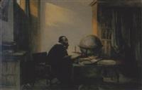 interieur met man en een globe by jan hendrik van de laar