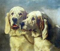 deux chiens de chasse by philibert-leon couturier