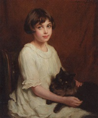 portrait of a young girl in a white dress and a cat on her lap by p(ercy) harland fisher