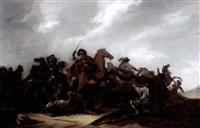 a cavalry battle scene in a landscape by jacob matthias weyer