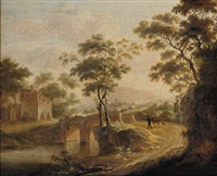 an italianate landscape with travellers by a bridge, a hamlet beyond by gaspar de witte