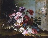 bodegón de flores y jarra de cristal by benito espinos