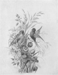 blumenbouquet mit vogel und vogelnest by grigory gagarin