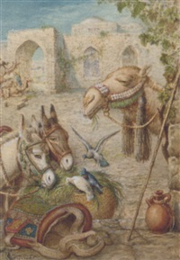 donkey and a camel resting at the wayside by william j. (webbe) webb
