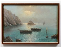 neapolitan coast with fishermen. verso signed d'auria in pencil on by vincenzo d' auria