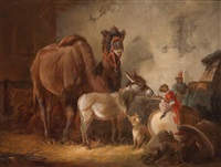 moving stable scene with circus animals by vincent de vos