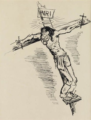 figure on a cross with a gas mask old woman smllr 2 works by george grosz