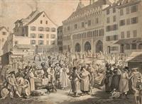 der marktplatz in basel by hieronymus hess