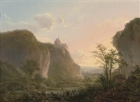 a mountainous wooded river landscape with travellers at rest on a track by hendrick van assche