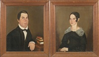 portrait of a lady (+ portrait of a gentleman; pair) by sheldon peck
