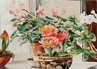 flowers in window sill by olga (grand duchess) alexandrovna