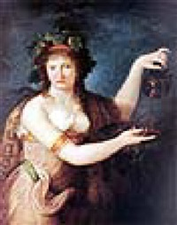 emma hamilton as a bacchante, wearing classical dress, pouring from a greek painted vase by robert fagan