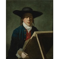 portrait of george morland when a young man (at an easel) by henry robert morland
