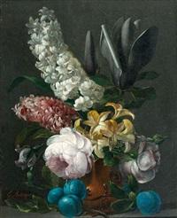 jacinthes, magnolias dans un vase sur un entablement avec des prunes by edouard joseph françois autrique