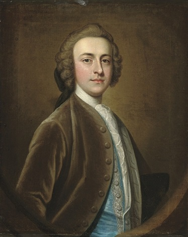 portrait of a gentleman half length in a brown velvet coat and blue silk waistcoat with silver frogging by james fellowes