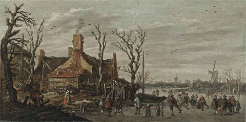 a winter landscape with skaters elegant figures and kolf players on the ice in a village by jan josefsz van goyen