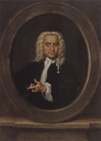 a portrait of a gentleman, wearing a black coat, a white chemise and a wig, in a stone cartouche by jan maurits quickhard