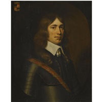portrait of a gentleman of the holt family, half-length, wearing armour and a red sash by crispyn van den queboorn