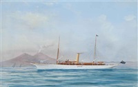 the steam yacht emerald in the bay of naples (illustrated); and the steam yacht emerald at sea (pair) by a. de simone