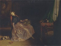 an interior with a girl sleeping on a chair by laurent jules marlet