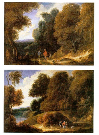 a wooded landscape with three travellers an a dog on a path by philippe van dapels