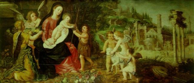 la vierge à lenfant avec saint jean baptiste entourés danges by wilhelm schubert van ehrenberg