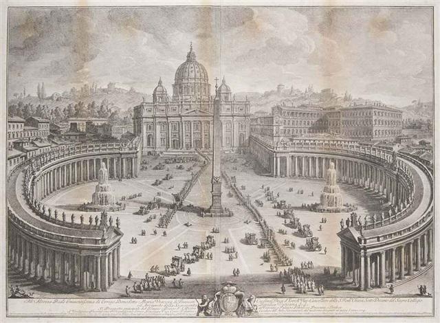 il prospetto principale del tempio e piazza di s pietro in vaticano 2 others 3 works by giuseppe vasi