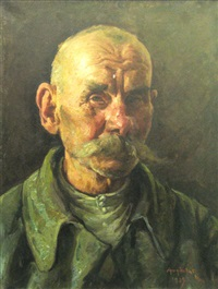 old man portrait by octavian angheluta