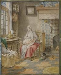 femme allaitant près d'une fenêtre dans un intérieur hollandais by gerrit zegelaar