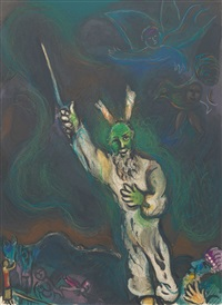 moses calls darkness down on egypt by marc chagall