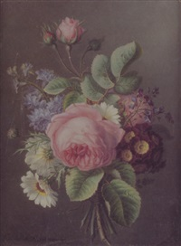 bouquet de fleurs retenu par un ruban by ange louis guillaume lesourd-beauregard