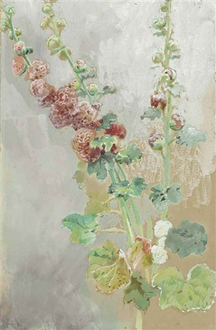 hollyhocks by konstantin egorovich makovsky