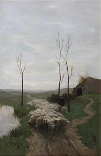 shepherd and flock by a pond by willem steelink