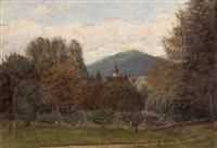 landschaft mit dorfkirche by carl gödel