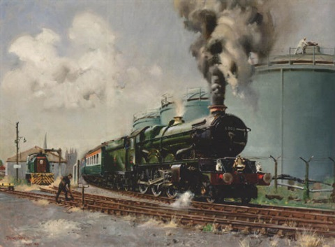 king george v steam locomotive no6000 at the bulmer cider mill hereford by terence cuneo